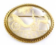 Vintage Rare Celluloid Coach And Horse Design 30's Brooch.